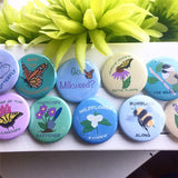 Plant More Milkweed, Pocket Mirror, Butterfly Button, 2.5 Inch Button, Butterfly Mirror, Nature Lover, Pollinators, Monarch Butterfly