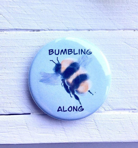Bumbling Along Pinback Button, Magnet or Button, 1.5 Inch Button, Bumble Bee Button, Honey Bee, Nature Lover, Environmentalist, Bee Keeper