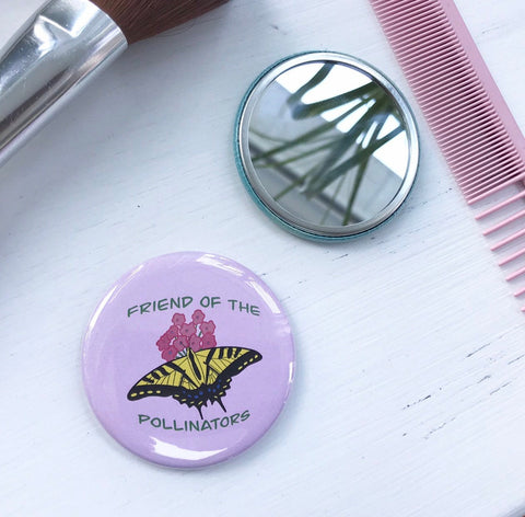 Friend of the Pollinators, Pocket Mirror, Butterfly Button, 2.5 Inch Button, Butterfly Mirror, Nature Lover, Save the Pollinators, Gardener