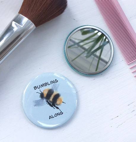 Bumbling Along, Pocket Mirror, Butterfly Button, 2.5 Inch Button, Butterfly Mirror, Nature Lover, Save the Pollinators, Gardener, Funny