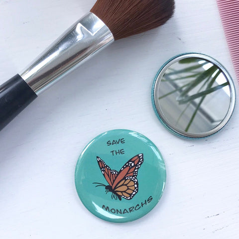 Save the Monarchs, Pocket Mirror, Butterfly Button, 2.5 Inch Button, Butterfly Mirror, Nature Lover, Pollinators, Monarch Butterfly