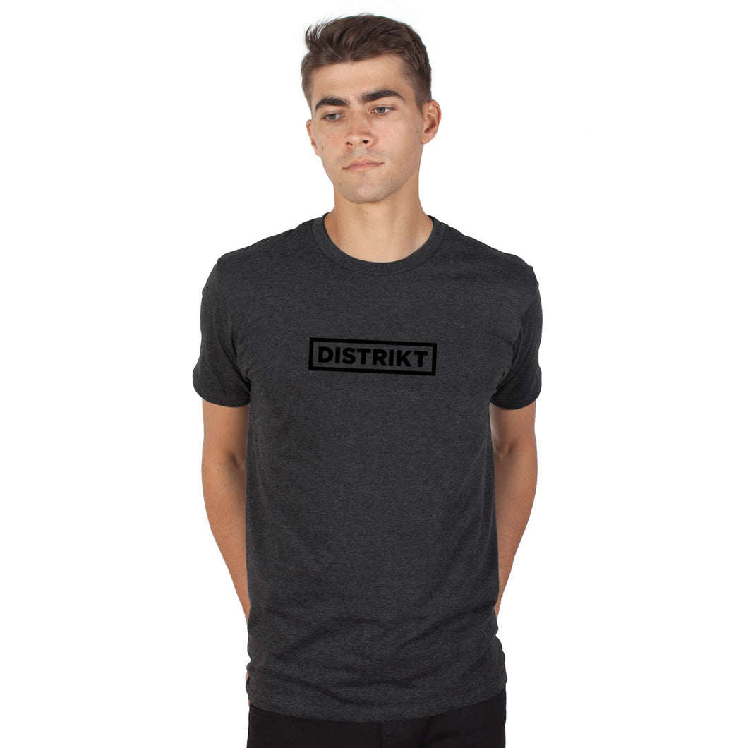 DISTRIKT Logo Tee<br>Black logo on Charcoal<br>(Men's sizing)