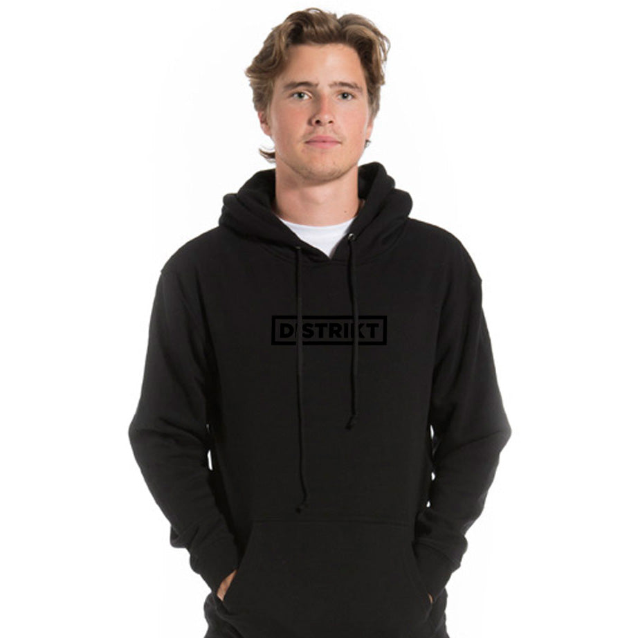 *NEW*<br>DISTRIKT Logo Unisex Hoodie<br>Metallic black logo on Black<br>(Men's sizing)