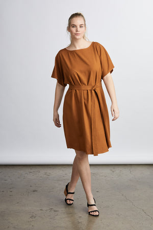 raw silk noil dress,