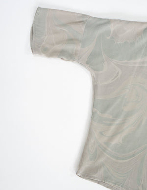 THE MARBLED T TOP in SILK CHARMEUSE