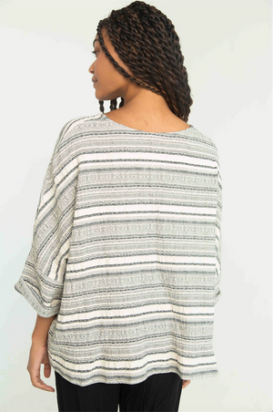 THE STRIPED COTTON CREPE T TOP