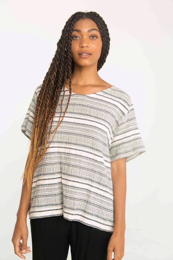 THE STRIPED COTTON CREPE TEE