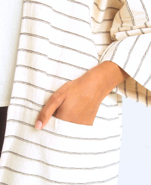 THE STRIPED COTTON OVERSIZED CARDIGAN