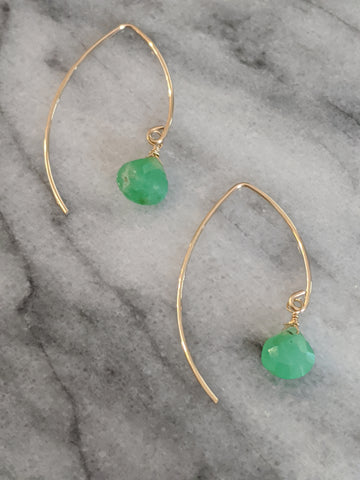 Gold Chrysoprase Wishbone Earrings