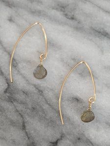 Gold Labradorite Wishbone Earrings