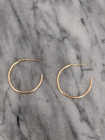Small Round Gold Hoop Earrings (open in back)