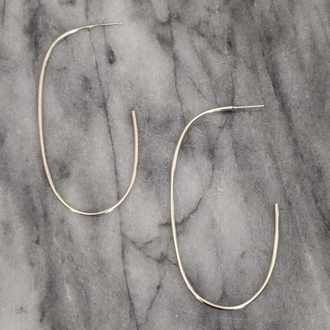 Large Oval Silver Hoop Earrings