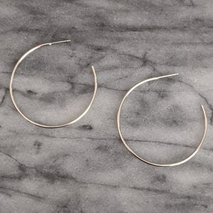 Large Silver Hoops (open in back)