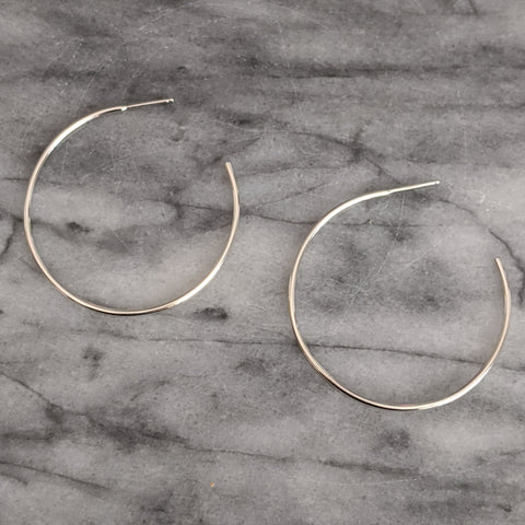 Large Silver Hoop Earrings (open in back)