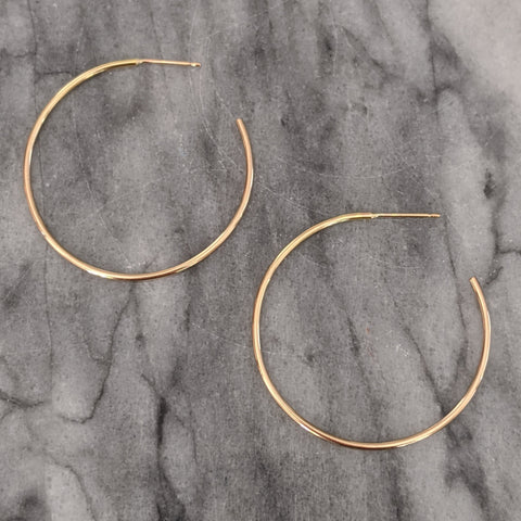 Medium Gold Hoops Earrings open in back)