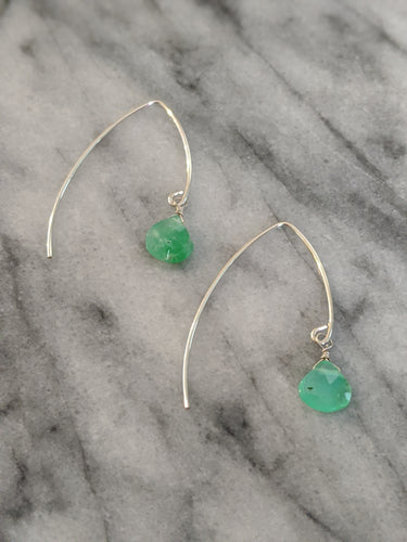 Sterling Silver Chrysoprase Wishbone Earrings