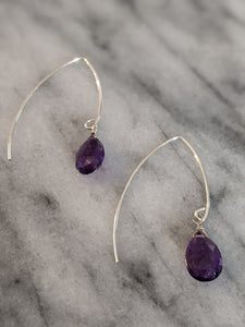 Sterling Silver Amethyst Wishbone Earrings