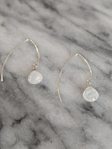 Sterling Silver Moonstone Wishbone Earrings