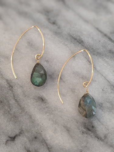 Gold Large Labradorite Wishbone Earrings