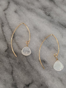 Gold Moonstone Wishbone Earrings