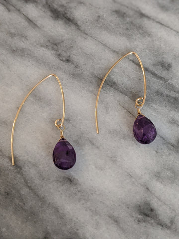Gold Amethyst Wishbone Earrings