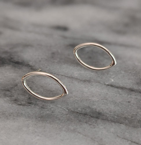 Small Silver Marquise Studs