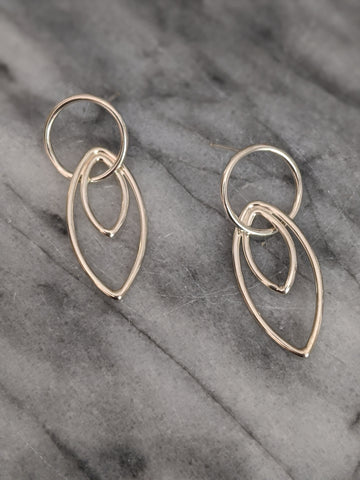 Medium Interlocking Silver Circle Stud and Double Marquise Earrings