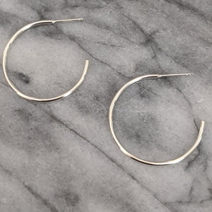 Medium Silver Hoops (open in back)