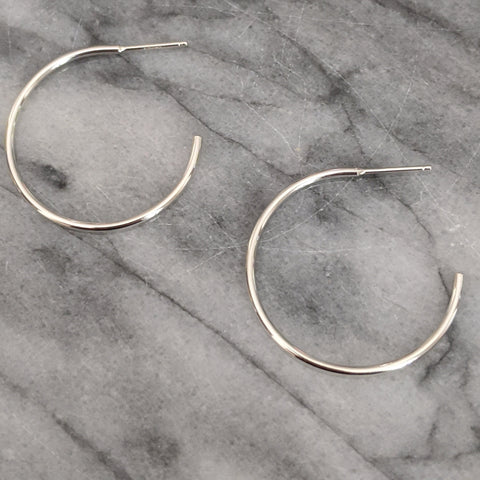 Medium Silver Hoops Earrings (open in back)
