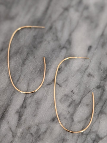 Large Oval Gold Hoop Earrings