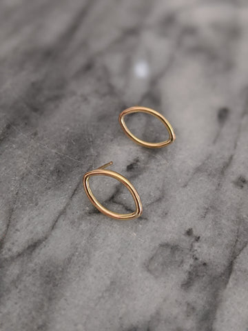 Small Gold Marquise Studs