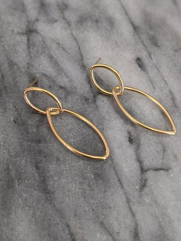 Medium Interlocking Gold Double Marquise Earrings (studs)
