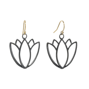 Black and Gold Lotus Earrings