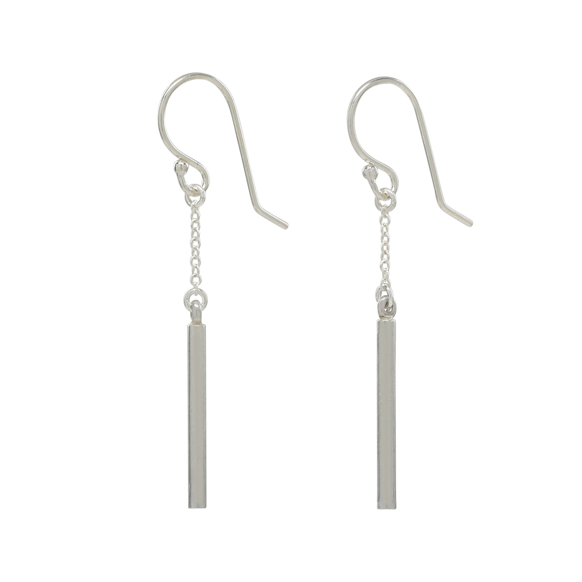 Silver Bar and Chain Earrings