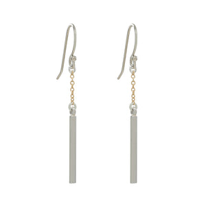 Bar and Gold Chain Earrings