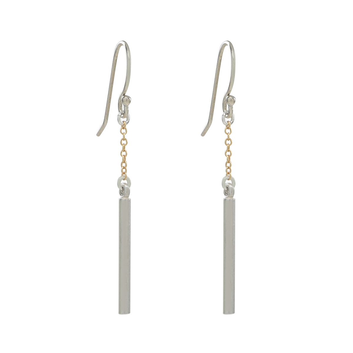 Silver Short Bar Earrings with Gold Chain