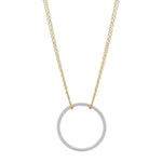 Silver Circle- Gold Chain Necklace