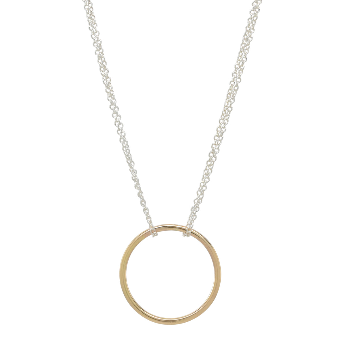 Gold Circle-Silver Chain Necklace