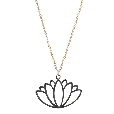Black and Gold Lotus Necklace