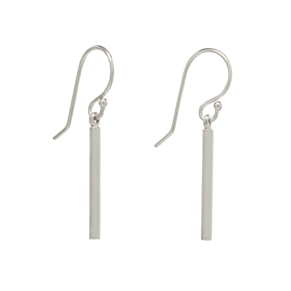 Short Sterling Silver Bar Earrings