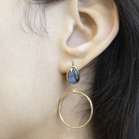 One-of-a Kind Labradorite Hoop Earrings
