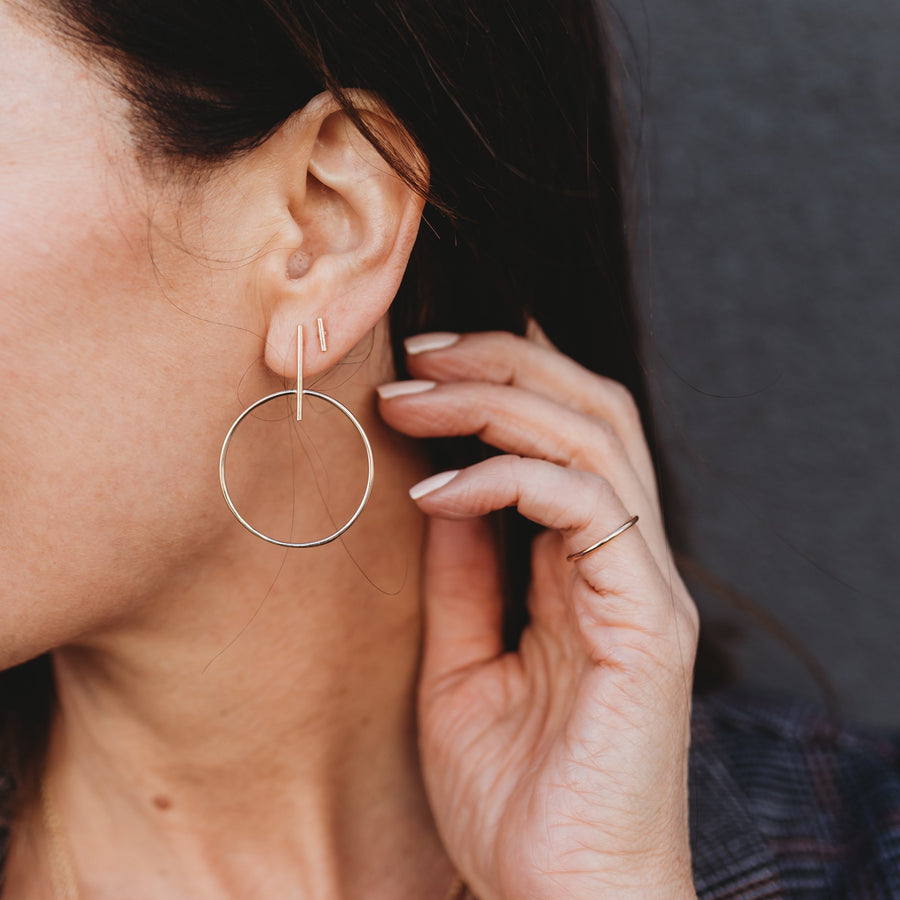 Gold Bar and Circle Earrings