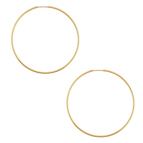 Large Yellow Gold Endless Hoops