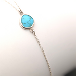 Silver Turquoise Lariat with Bar Accent