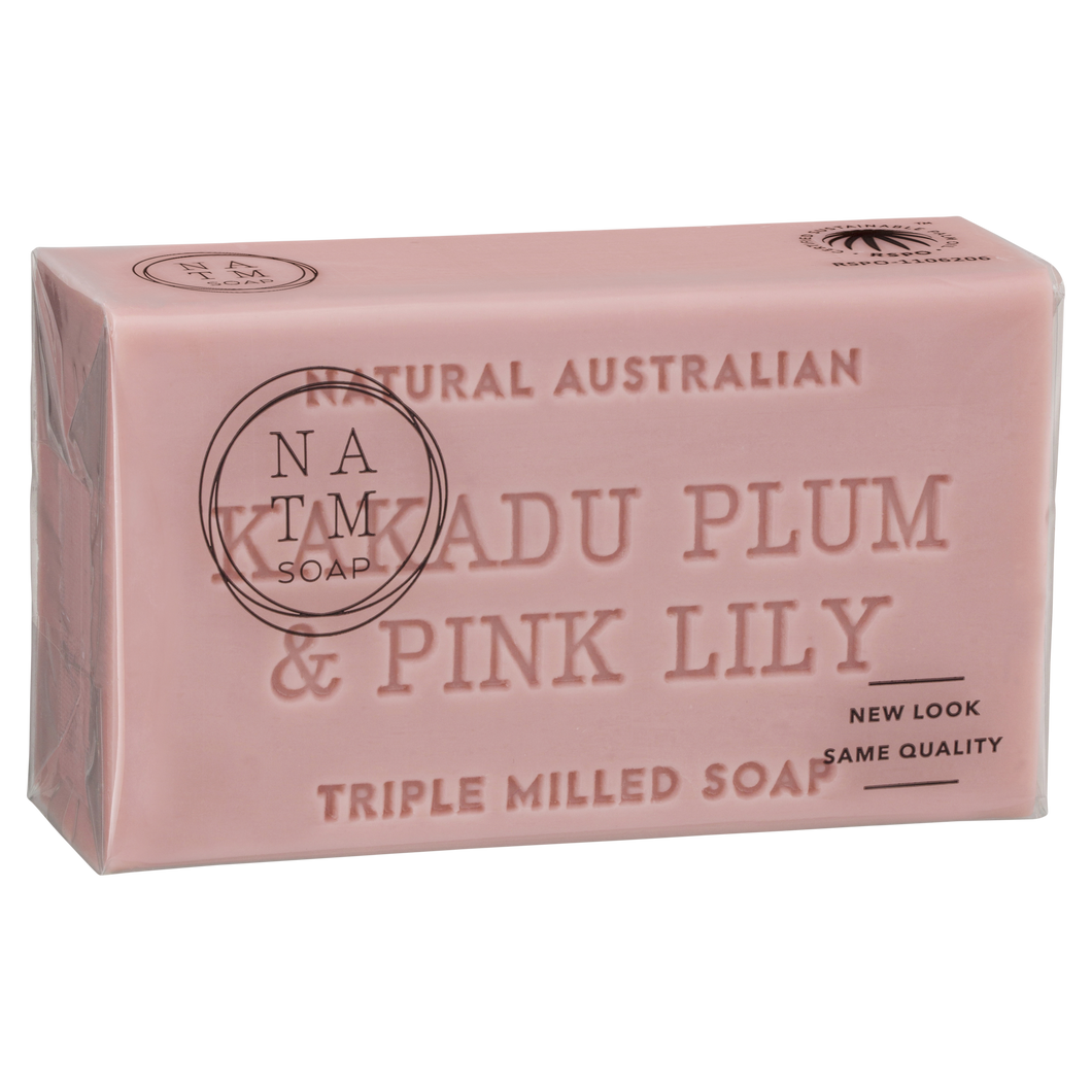 Kakadu Plum and Pink Lily 200g australian triple milled  soap bar