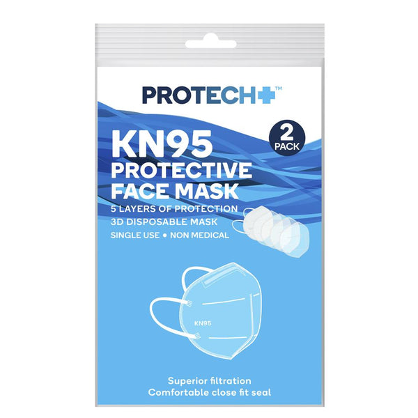 ProTech+ Protective Face Masks - 2 Pack