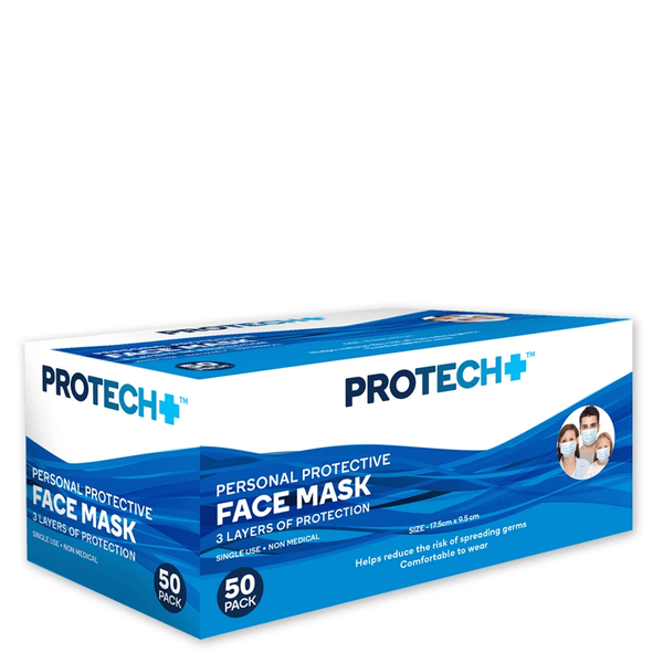 ProTech+ Protective Face Masks - 50 Pack
