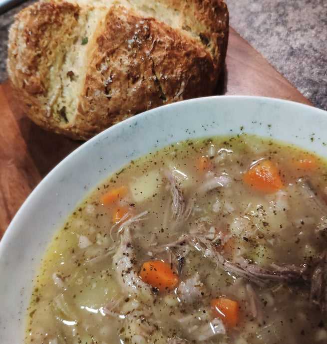 Turkey Broth with Rosemary Soda Bread ||