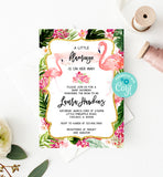 Tropical Flamingo Baby Shower Invitation Printable