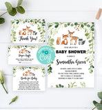 Cheers Bundle: Green Foliage Woodland Baby Shower Invitation Pack